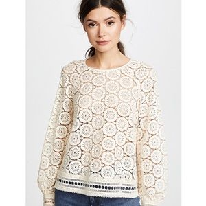 See by Chloe Top Ornamental Eyelet Lace Ivory 36